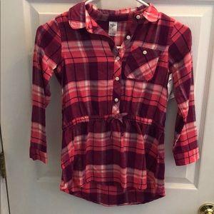 OSHKOSH flannel top tunic size 7 pink purple NWT